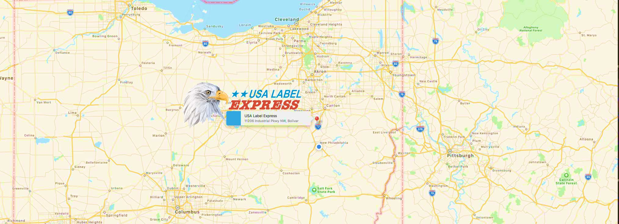 map and location of USA Label Express